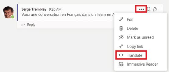 Teams tip - překlad do jiného jazyka